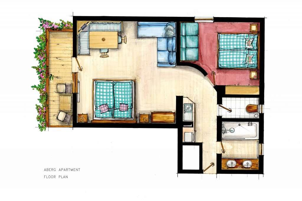 Aberg apartment floor plan - Haus Schneeberg